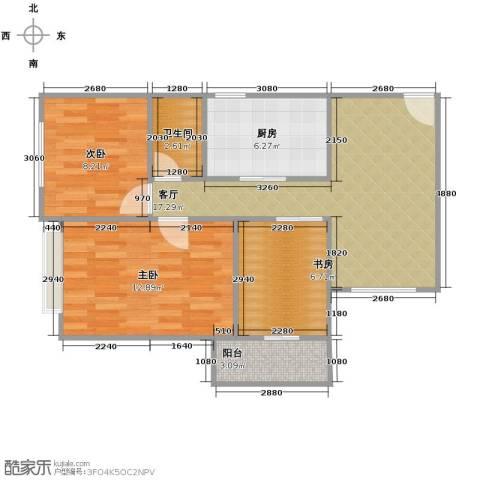 雅致花园3室1厅1卫1厨78.00㎡户型图