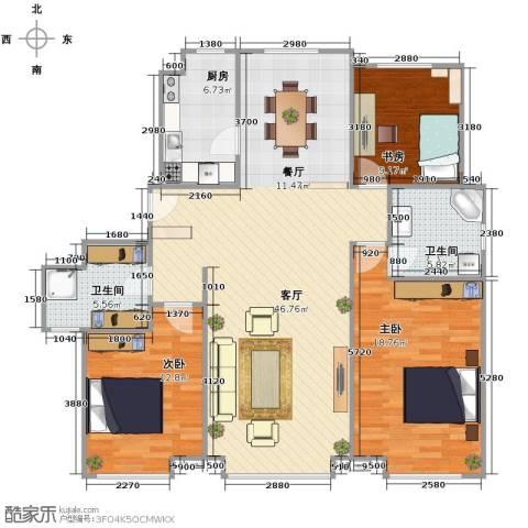 森茂华庭3室1厅2卫1厨141.00㎡户型图
