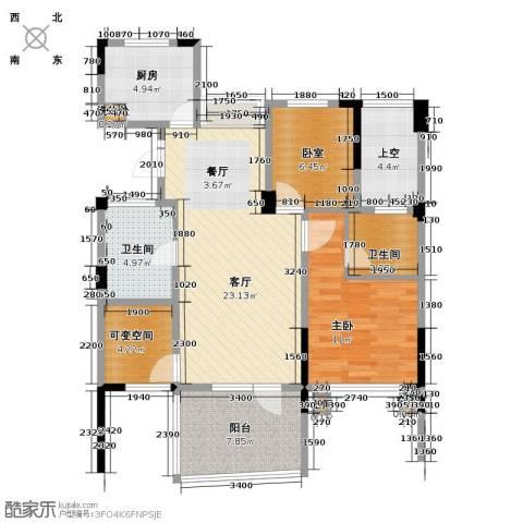 天鸿香榭里3室2厅2卫0厨86.00㎡户型图