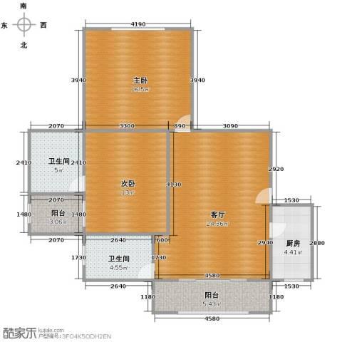 江南世纪新苑2室1厅2卫1厨103.00㎡户型图