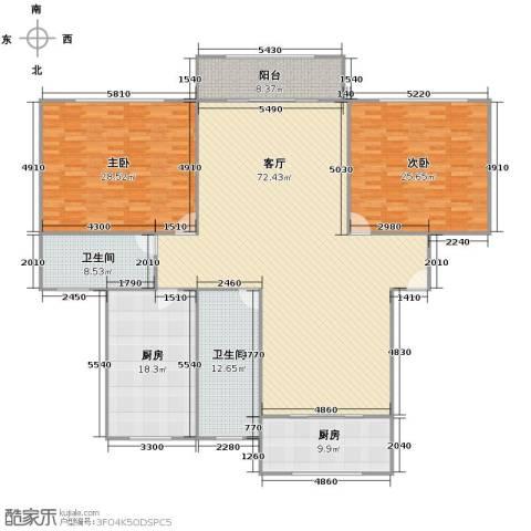 华高庭园2室1厅2卫2厨243.00㎡户型图