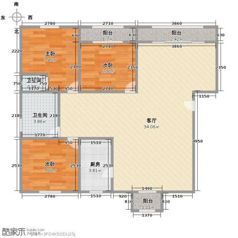 新明星花园二期3室1厅2卫1厨94.00㎡户型图