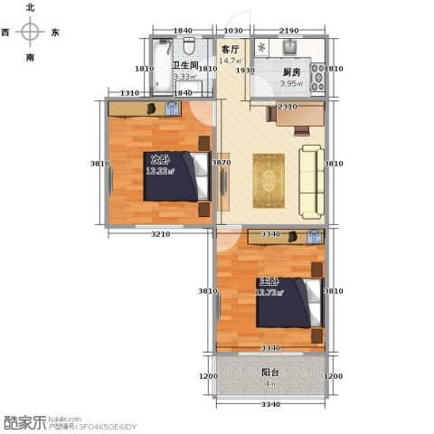 呼玛四村2室1厅1卫1厨69.00㎡户型图