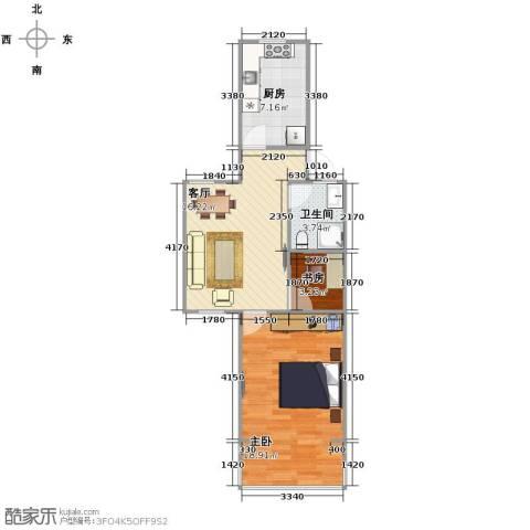 虹城公寓2室1厅1卫1厨66.00㎡户型图
