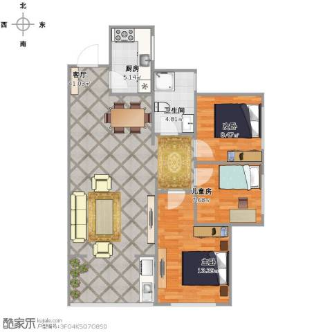 汉城湖畔3室1厅1卫1厨108.00㎡户型图