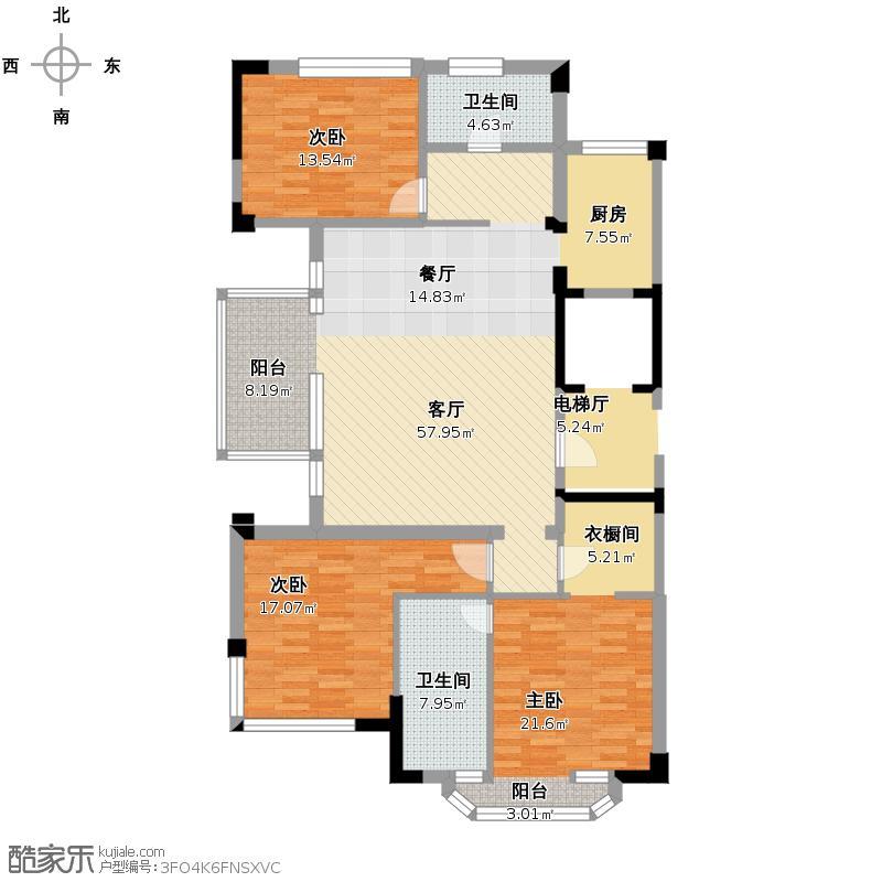 德信臻园160.00㎡B1户型3室2厅2卫