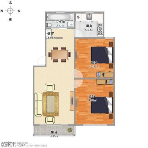梅福花苑2室1厅1卫1厨93.00㎡户型图