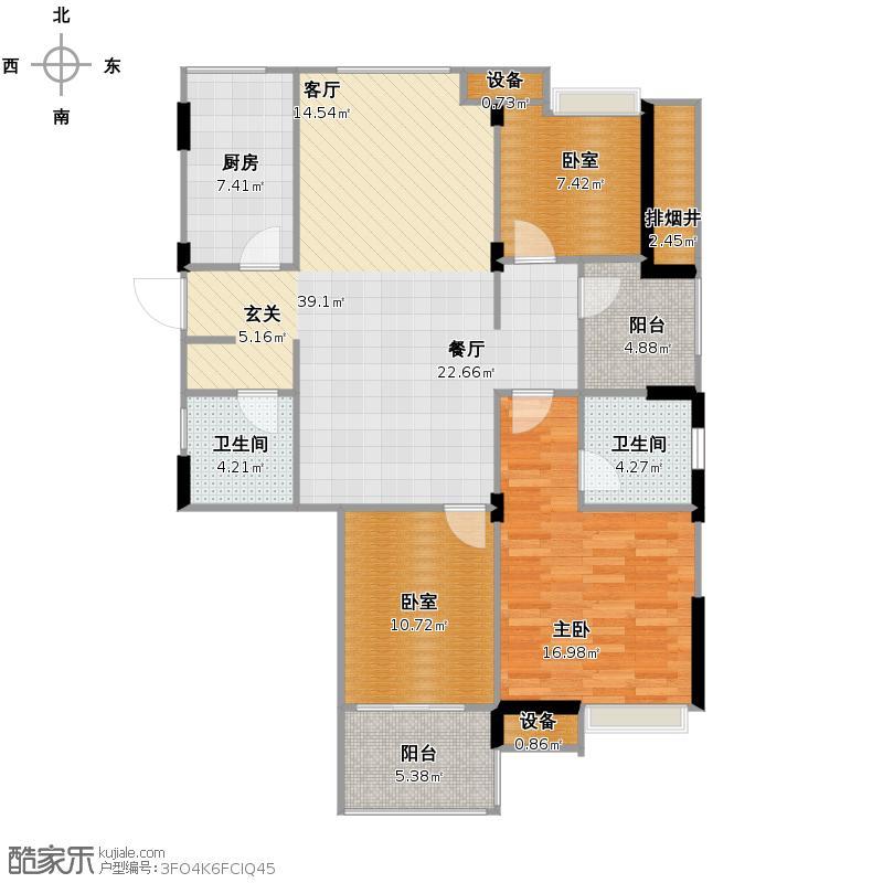 万泰新语112.00㎡IX户型3室2厅2卫
