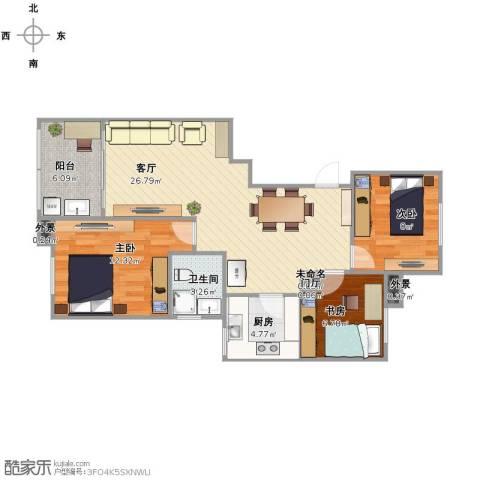 丁桥家园3室1厅1卫1厨76.00㎡户型图