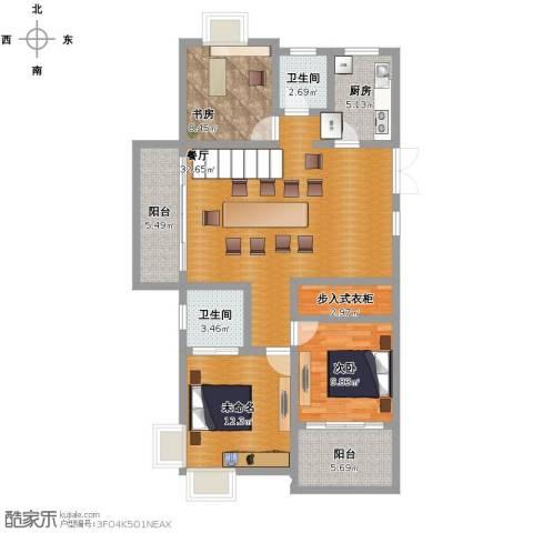 锦秀河山2室1厅2卫1厨130.00㎡户型图