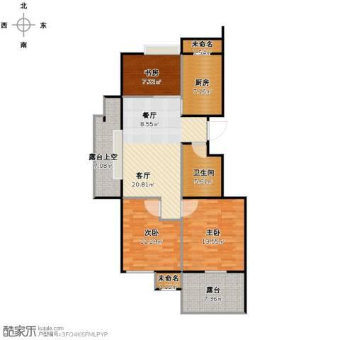 阳光景台3室1厅1卫1厨87.00㎡户型图