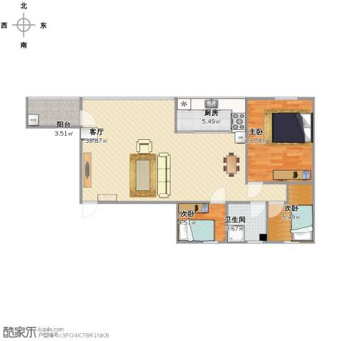 番禺富华楼3室1厅1卫1厨101.00㎡户型图