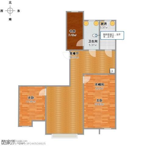 居然青年城3室1厅1卫1厨116.00㎡户型图