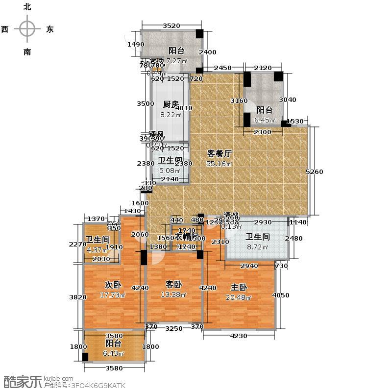 滨江城市之星168.05㎡户型3室1厅3卫1厨