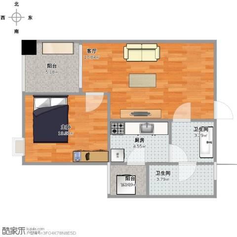 中航国际交流中心1室1厅2卫1厨65.00㎡户型图