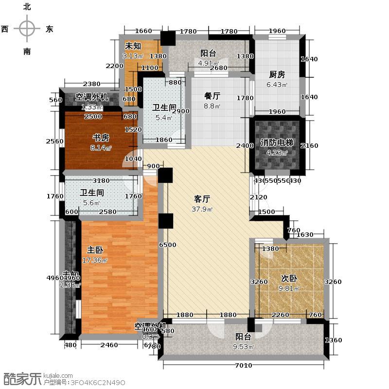 泊悦府130.00㎡C3香雅居户型3室2厅2卫