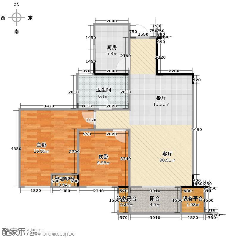 望城90.51㎡G-BB1户型2室2厅1卫