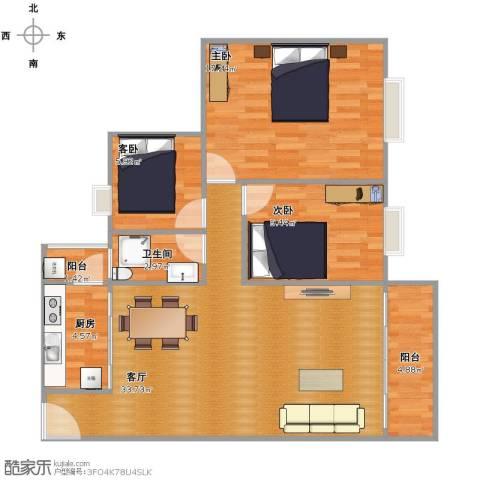 海逸豪庭3室1厅1卫1厨108.00㎡户型图