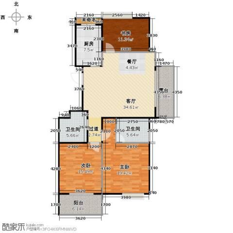 阳光景台3室1厅2卫1厨120.00㎡户型图