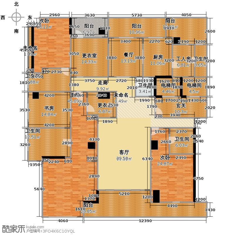 绿城玉园310.00㎡C户型5室2厅4卫