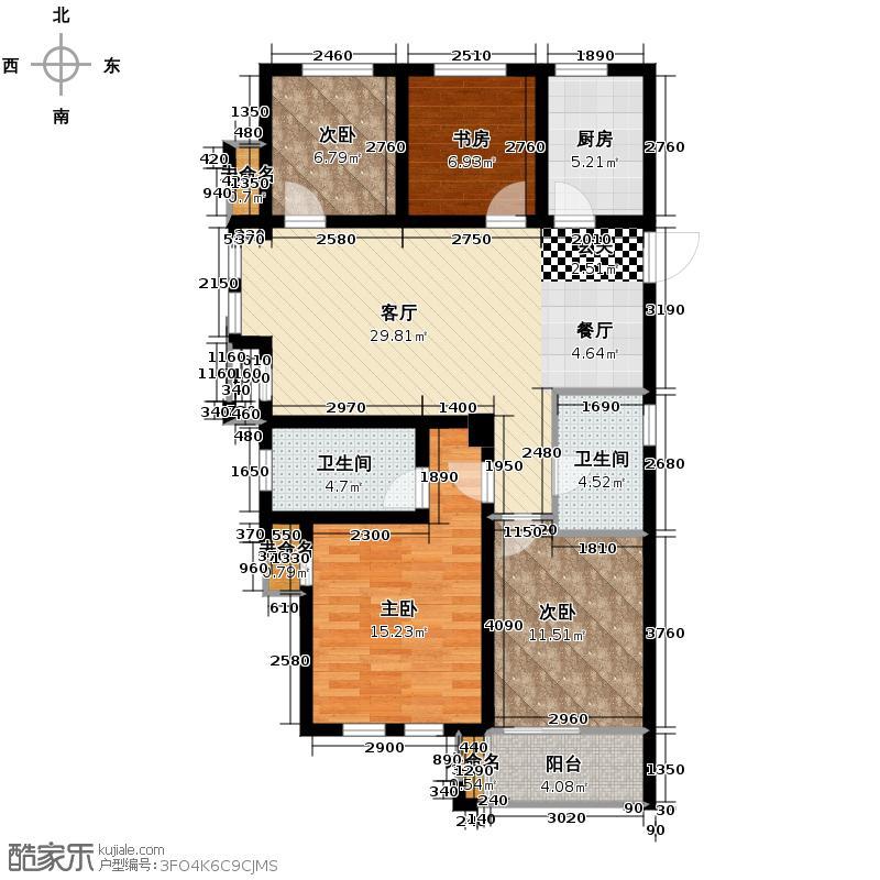 高运学林尚苑95.21㎡J2户型1室2厅2卫