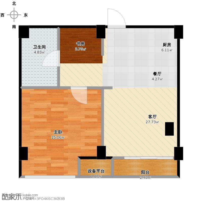 金顺锦绣时代65.00㎡润锦公馆单身公寓D户型1室2厅1卫