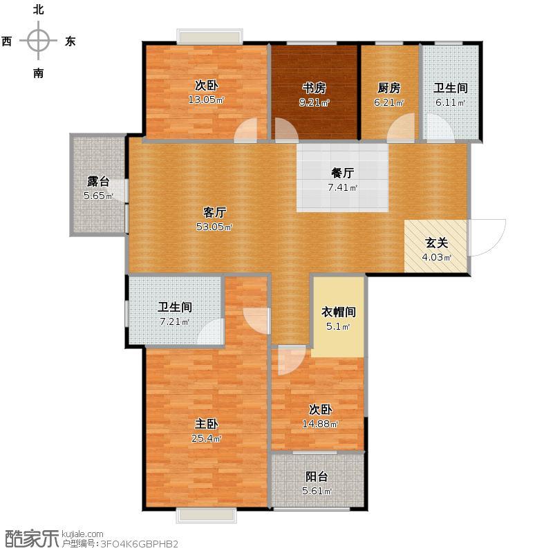 九悦江南161.00㎡2、3号楼平层SOHO公馆D-1奇数层户型4室2厅2卫