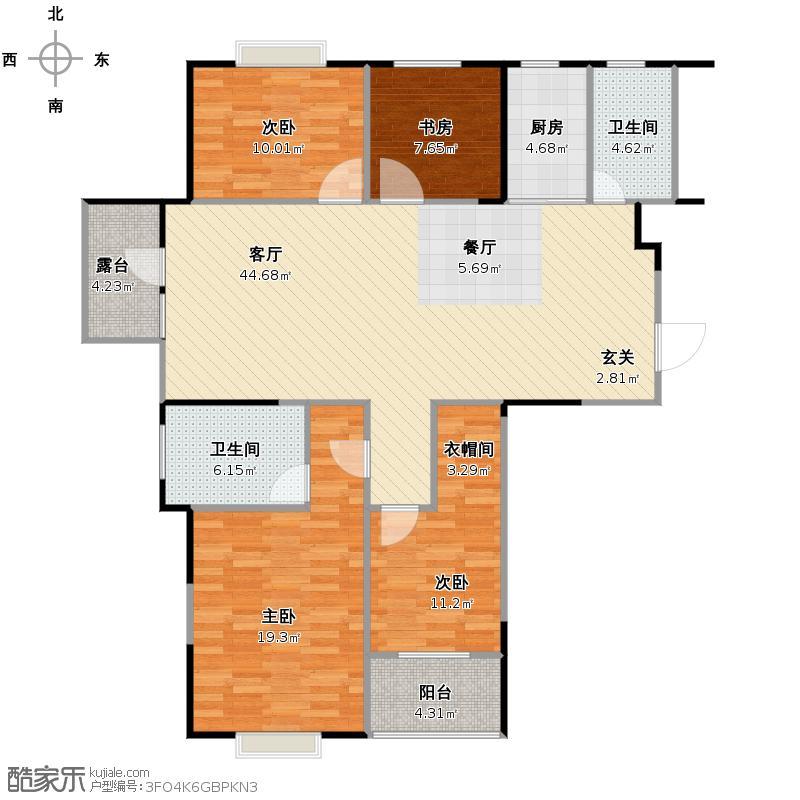 九悦江南161.00㎡5号楼平层SOHO公馆边套D-2奇数层户型4室2厅2卫