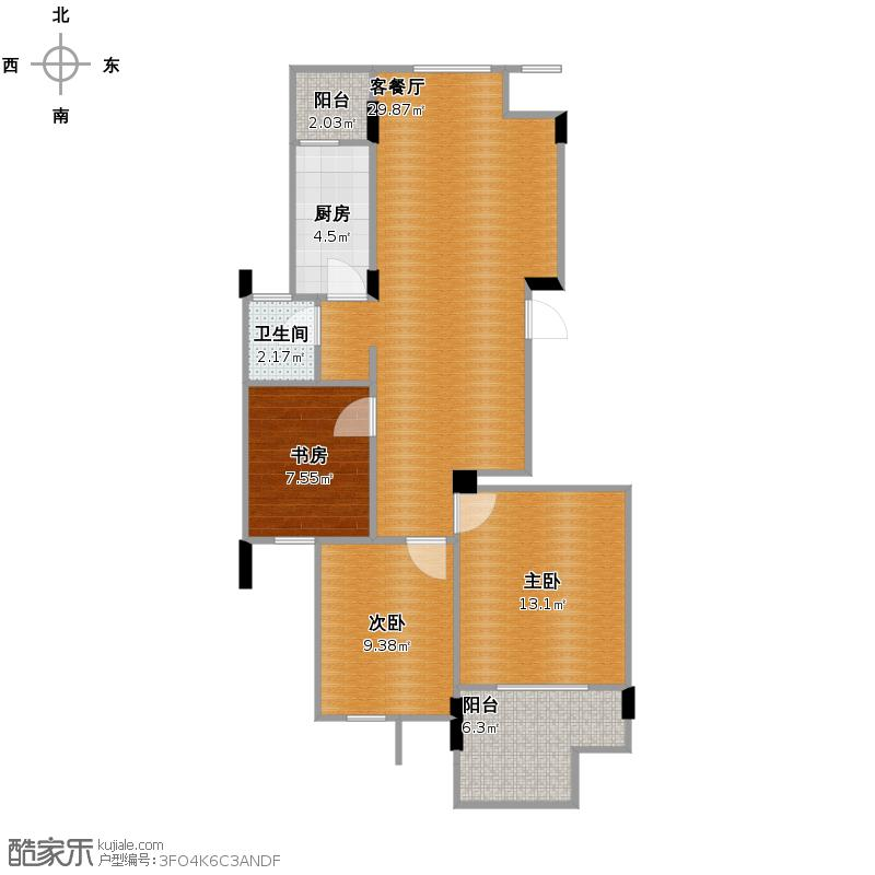 北湖绿洲花园101.00㎡B2户型3室2厅1卫