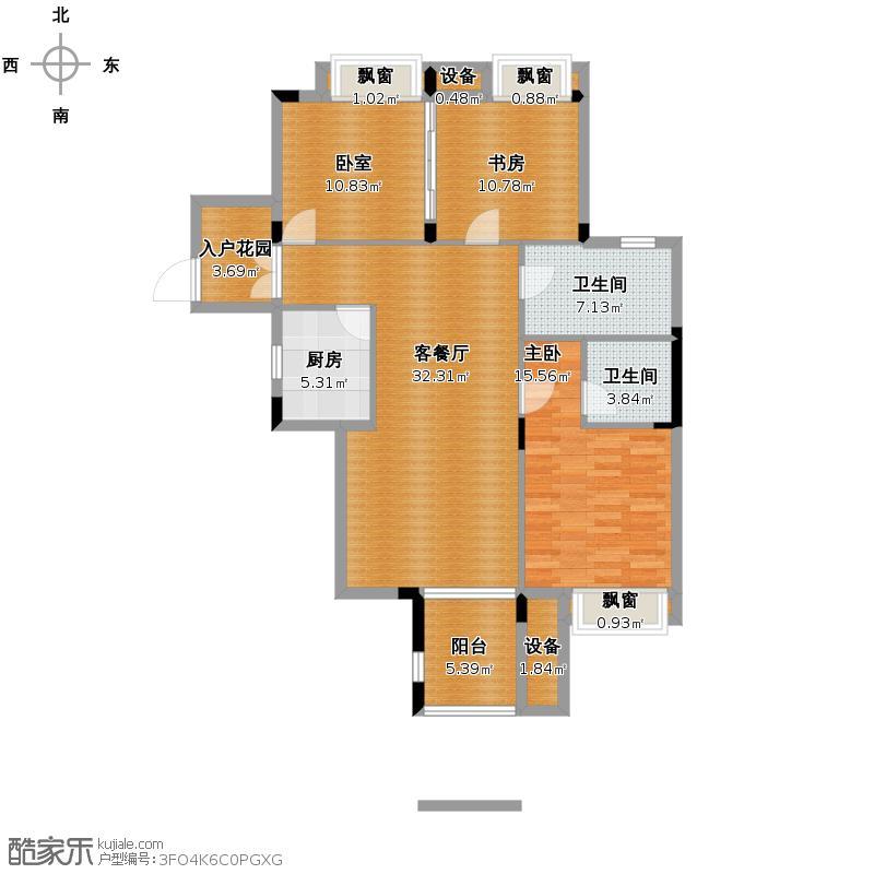 信达柳郡110.50㎡�轩D6偶数层户型3室2厅2卫