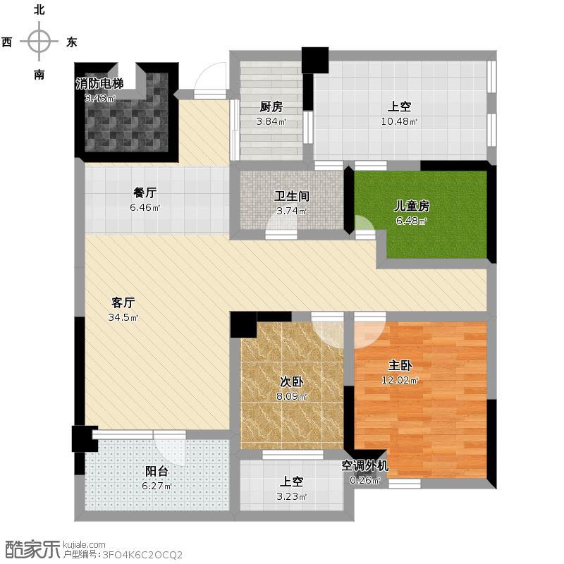 泊悦府88.00㎡3、9号B1偶数层户型3室2厅1卫
