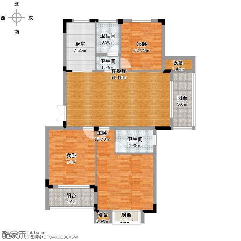 景丽华庭120.00㎡D户型10室