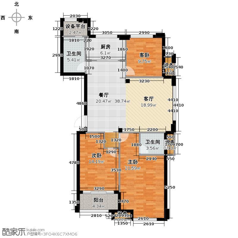 青山鹤岭121.00㎡K套型公寓户型3室2厅2卫