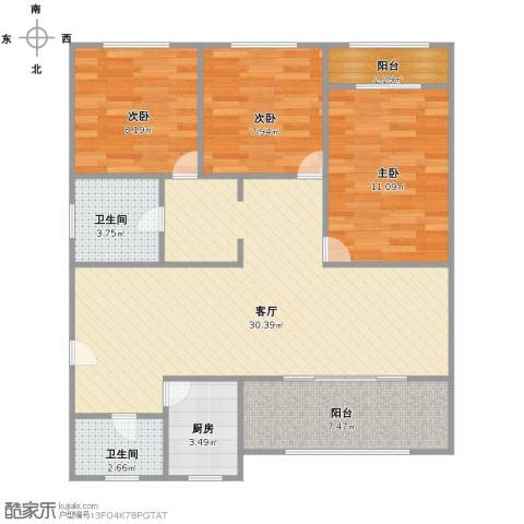 世纪非凡怡园3室1厅2卫1厨105.00㎡户型图