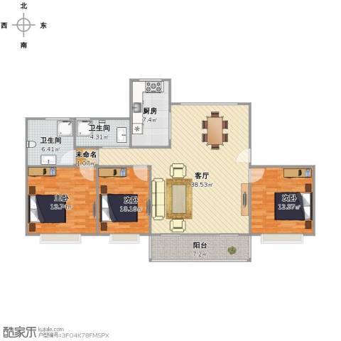 蓼花汀花园3室1厅2卫1厨136.00㎡户型图