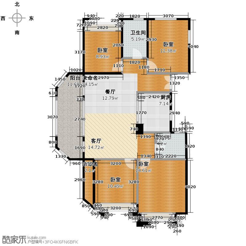 广宇东承府121.46㎡1、2、3号楼A户型4室2厅2卫