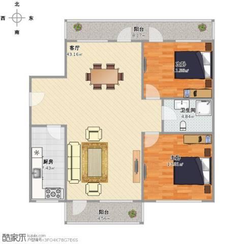 水清二村2室1厅1卫1厨125.00㎡户型图