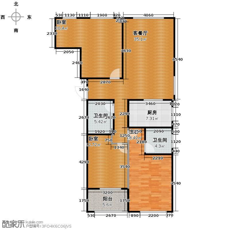 栖水珑庭131.50㎡G户型3室2厅2卫