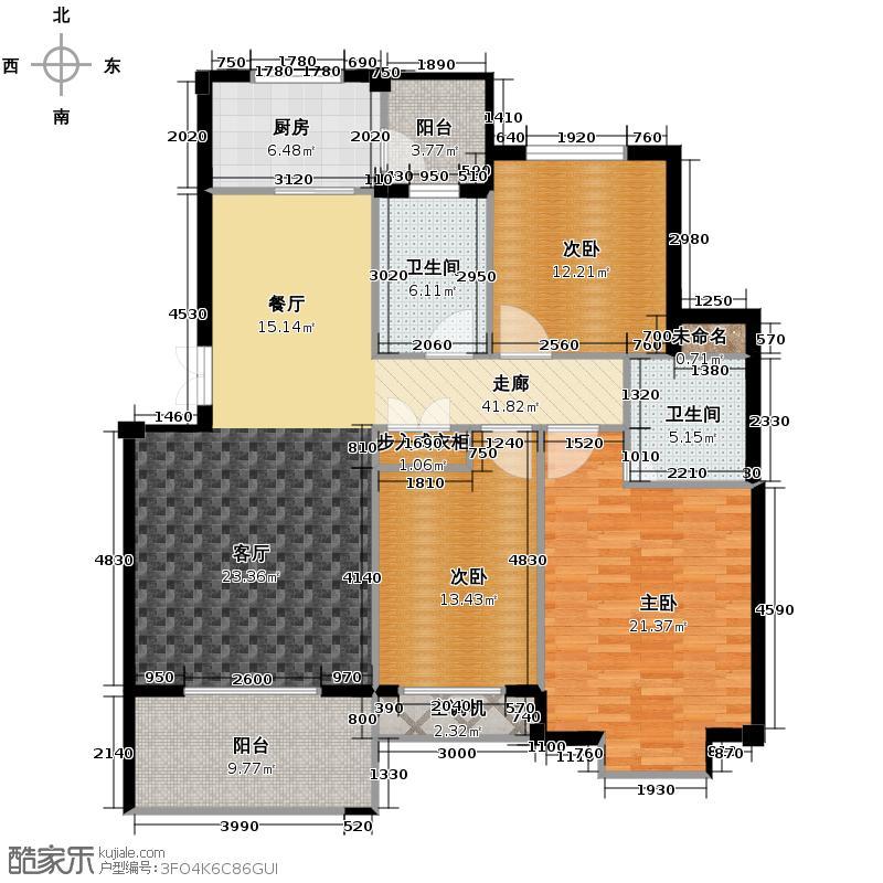 江南名苑121.35㎡D1户型3室2厅2卫