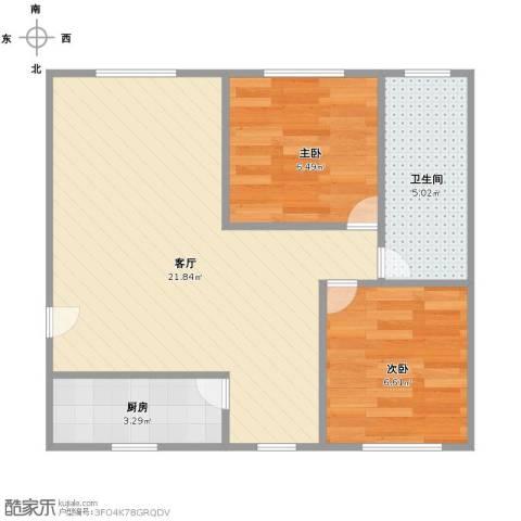 富浩河滨花园2室1厅1卫1厨59.00㎡户型图