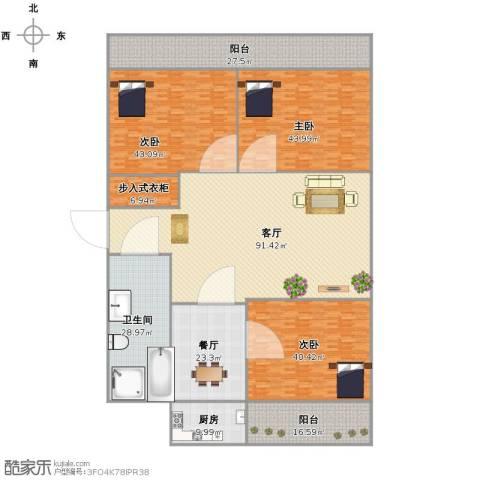 千佛山东路检察院宿舍3室2厅1卫1厨434.00㎡户型图