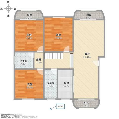 共富富都园3室1厅2卫1厨80.00㎡户型图
