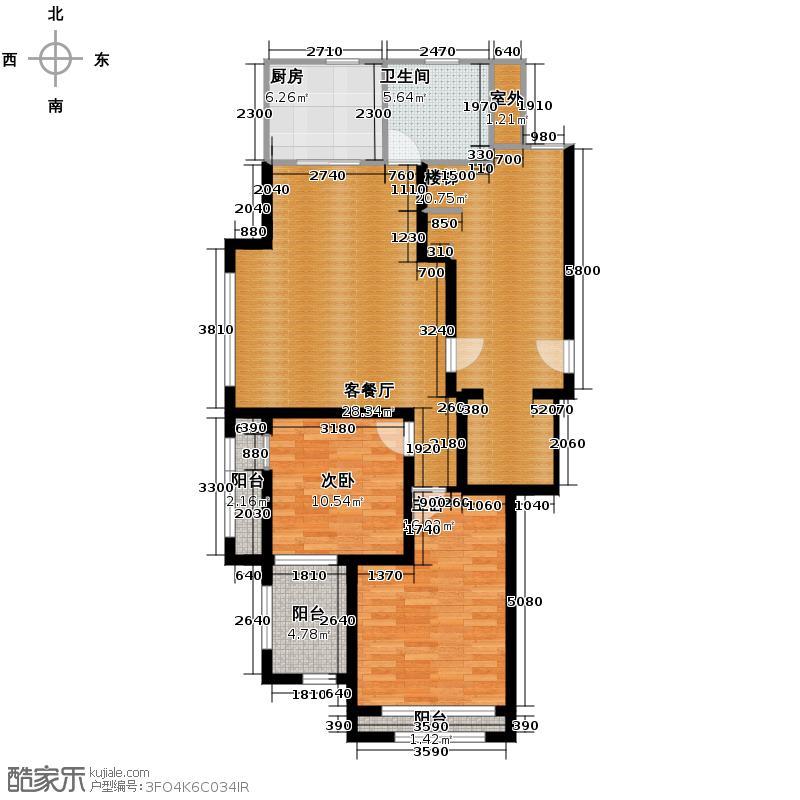 绿城翡翠湾90.46㎡2号楼西边套E1户型2室2厅1卫
