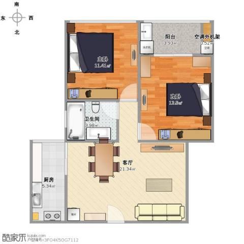 水岸豪庭东苑2室1厅1卫1厨80.00㎡户型图