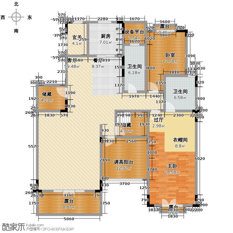 华盛达阅城263.00㎡1、3、5号楼顶跃中间套A8下层户型4室2厅3卫