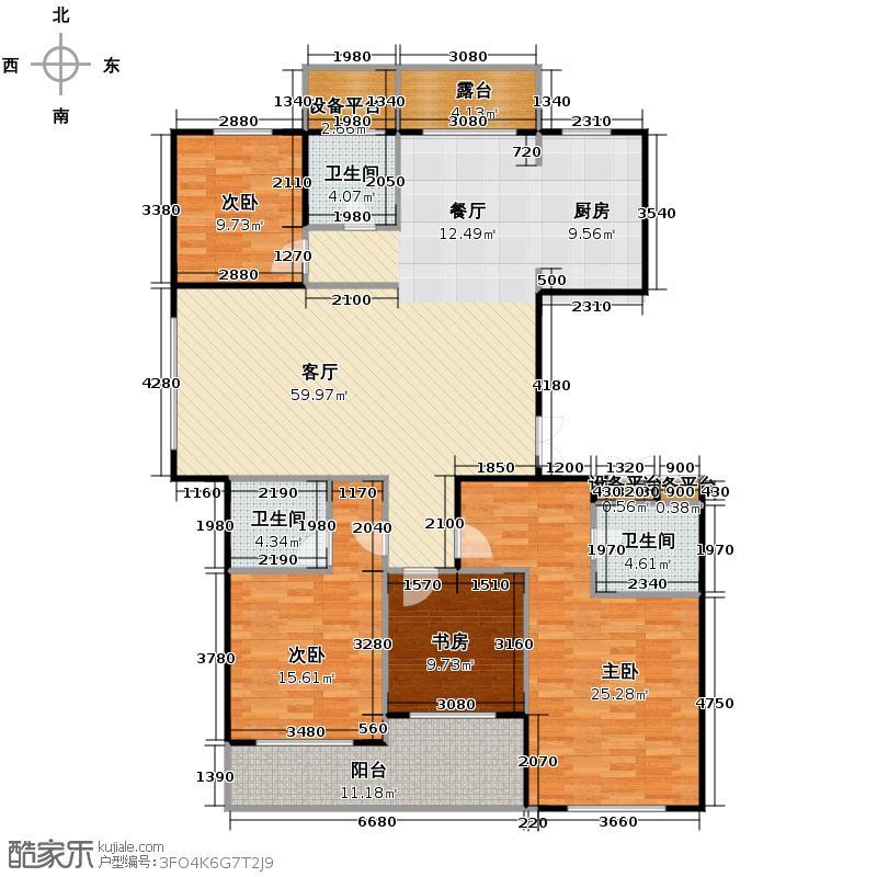 曙光之城175.00㎡滨江户型3室2厅3卫