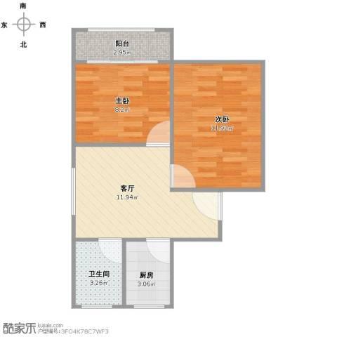秀枫翠谷2室1厅1卫1厨57.00㎡户型图