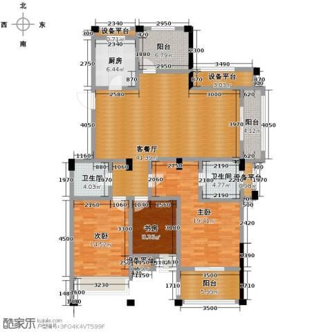德信早城3室1厅2卫1厨131.00㎡户型图
