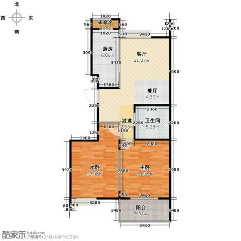 阳光景台2室1厅1卫1厨84.00㎡户型图
