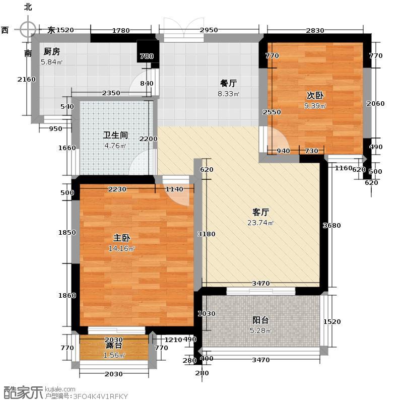 伊萨卡国际城89.05㎡户型2室1厅1卫1厨